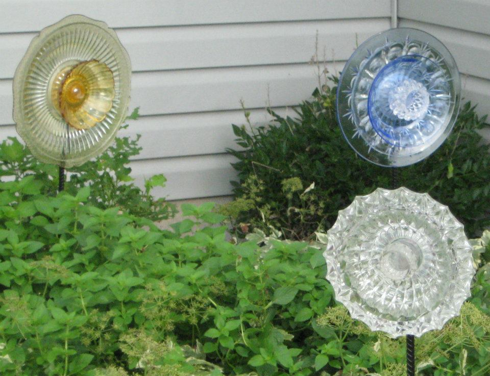 Gold, Blue And Clear Glass Garden Ornaments